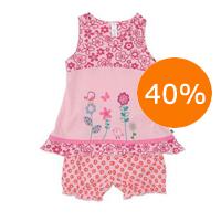 Babysæt med kjole og bloomers i økologisk bomuld
